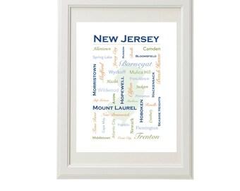 New Jersey Wall Art, Personalized