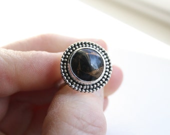 Black Turquoise with Brass set in Sterling Silver Handmade Ring Size 7