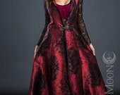 "Limited Edition: The Metallic Cranberry Opera Vest/Hooded Long Vest w/ Black ""Leaves"" by Opal Moon Designs (sizes S-L)"