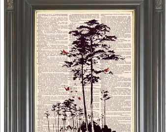 Pine tree Red birds Butterflies wall art print on dictionary or sheet music page Dictionary art print Wall decor Digital art  print No. 819