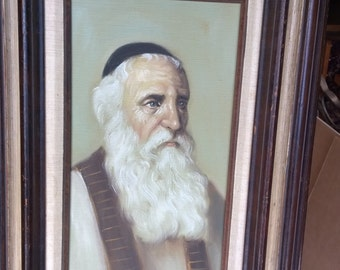 Original Signed Oil on Canvas - Framed Mid Century Painting by David Pelbam - Rabbi Portrait