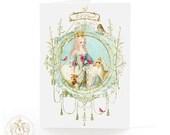 Christmas card, let it snow, Marie Antoinette, Snow Queen, woodland animals, snow, deer, reindeer, rabbit, owl, white berries, holiday card