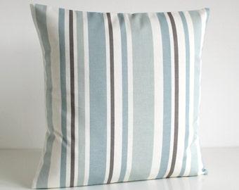 Stripe Pillow Cover, Stripe Cushion Cover, Stripe Pillow Sham, Throw Pillow, Pillow Cover, Pillowcase - Barcode Pale Blue