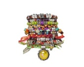 Vintage Sterling Silver Pendant - Gypsy Bracelet Stack - Boho Bangles - Beaded Bohemian Cuff - Tribal Cuff - Boho Gypsy Stacking Bracelet