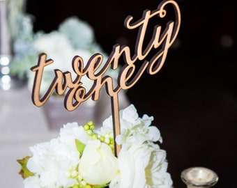 Table Number Words on Sticks, Extra Tall Wooden Words for Table Number Wedding Decor Reception Table Numbers (Item - LWS100)