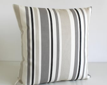 Stripe Pillow Case, Stripe Cushion Cover, Pillow Sham, Throw Pillow, Pillow Cover, Pillowcase - Barcode Taupe Grey
