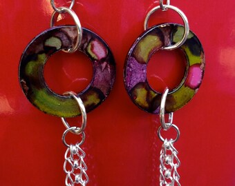Upcycled Metal Washer Dangle Earrings - Alcohol Ink Design - Silver Filled Chains  - Handmade