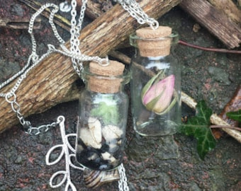 Dried Rosebud In Corked Botanical Bottle Pendant with Mother of Pearl Detail on 15 Inch Chain