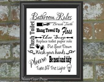 Bathroom Decor printable, Instant Digital Download, Black and White Art, Bathroom Rules