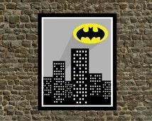 Super Hero Batman Wall Art Printable - Instant Download 8 x 10 - Bat Signal Cityscape