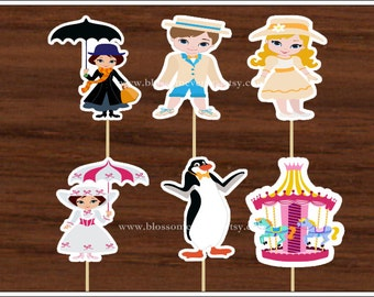 Miss Poppins Inspired Cupcake Toppers(12).