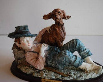 Vintage Boy Figurine Misubanti Collection Sleeping Boy and His Dog
