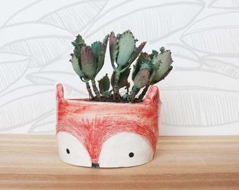 Ceramic Fox Planter - MADE TO ORDER