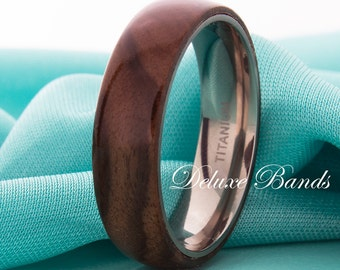 Titanium Wedding Band Titanium Ring Titanium Wood Ring Titanium Wood Band Promise Ring Anniversary Band Engagement Ring Wood Ring 6mm Wood