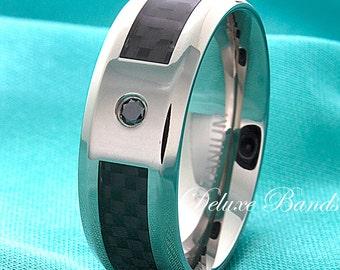 Black Diamond Titanium Wedding Band Black Carbon Fiber Inlay Titanium Band Titanium Anniversary Ring Titanium Diamond Ring Black Titanium