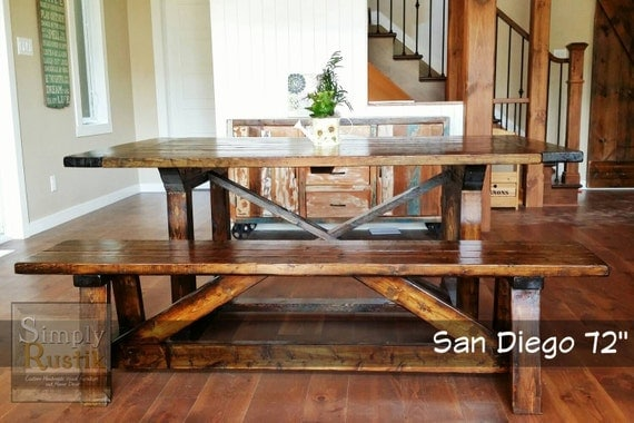 ... Rustic Farmhouse Dining Table And Bench ...