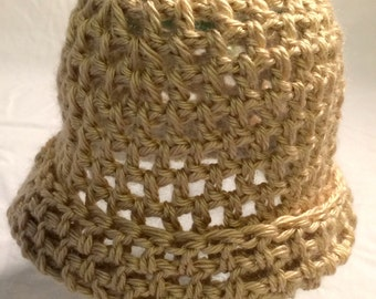 Homemade Crocheted Child's Tan  Roll Brim Hat