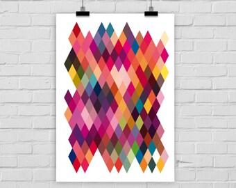 fine-art print poster minimal ABSTRACT RHOMBUSES