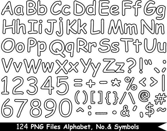 124 PNG Files Outline Alphabet, Numbers & Symbols