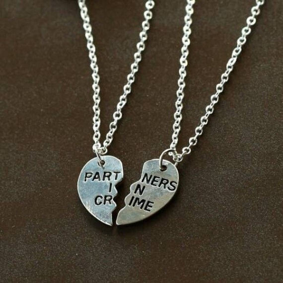 partners in crime necklace silver plate by jewelrestorejunkie
