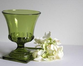 Green Glass Pedestal Vase Vintage Home Decor Flower Vase Retro Avant Garde Detailed Flared Bowl