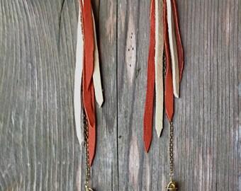 Quartz Leather Drop Earrings~