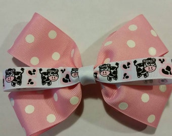 Pink Cow Boutique Style Hairbow