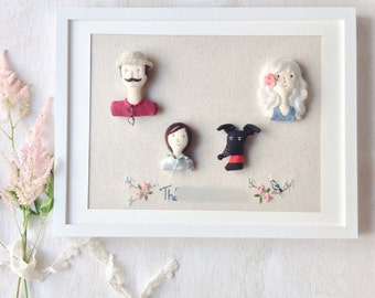 Custom Family of Four Portrait Fabric Doll Miniature (Include Frame)