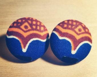 Fabric Covered Button Earrings, Honey Drip (Wax Print, Ankara, Studs, Accessories)