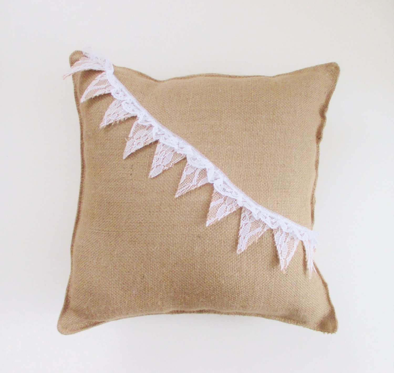 Decorative Pillows With Lace : Burlap Pillow Burlap and Lace Decorative Pillow Shabby Chic