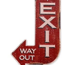 Handcrafted Vintage Exit Arrow Steel Sign  (PSS00002)