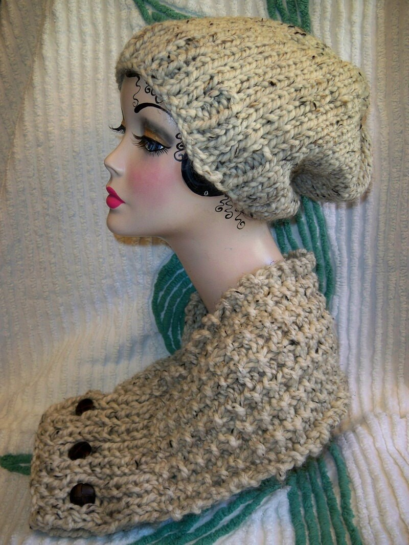 Sale Chunky Knit Slouchy Beanie and Scarfie Hat and Scarf Set