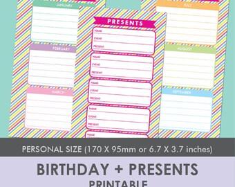 Printable Birthdays + Presents Planner - Personal Size