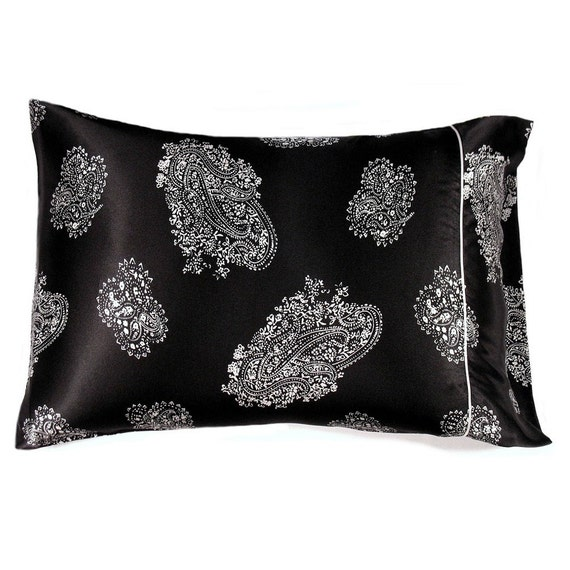 Black And White Satin Standard Size Pillowcase. Satin Pillow