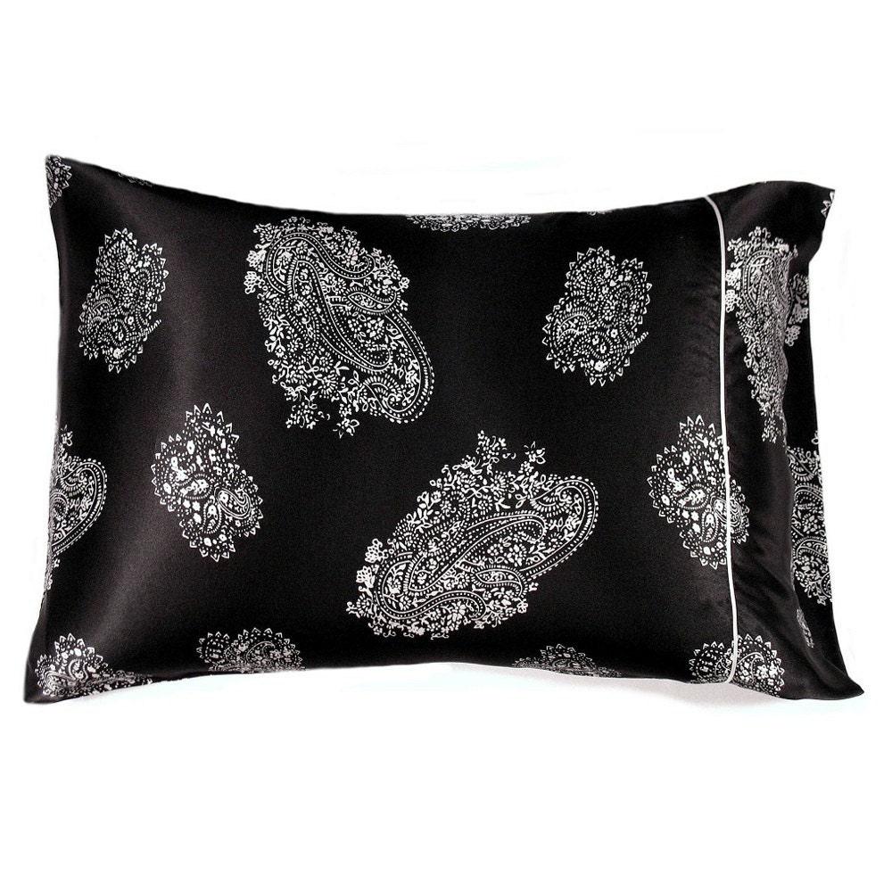 black and white satin standard size pillowcase satin pillow. Black Bedroom Furniture Sets. Home Design Ideas