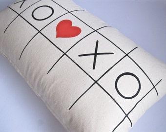 "Screen printed Black & Red ""Tic Tac Toe hearts"" long cushion cover"