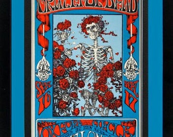 The Grateful Dead 1960's Art Nouveau Framed & Mated Concert Poster 20 x15