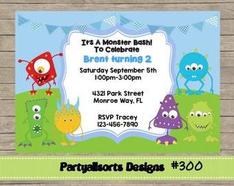 300 DIY - Monsters/Monster Bash Invitations Cards.