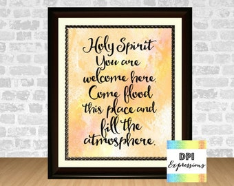 Holy Spirit You Are Welcome Here, Printable Christian Wall Art, Printable Wall Decor, DIY INSTANT DOWNLOAD
