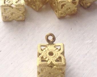 Vintage Fancy Brass Filigree Cube Charm - Item 42