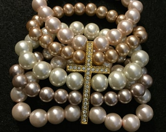 Beaded Multistrand Pearl Bracelet with Cross