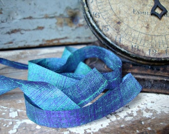 2 Yards - Blue and Green Iridescent Textured Ribbon