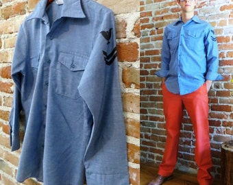 Men's Vintage/Retro Chambray Long Sleeved Buttondown Oxford