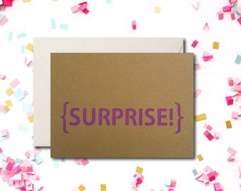 Surprise Greeting Card, Kraft Greeting Card, Modern Card, Yellowdotpaper