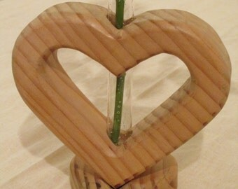 Unique Heart bud vase from reclaimed wood.