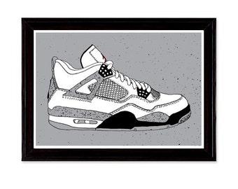 Air Jordan 4 Sneaker Shoe Illustration Poster Print iv