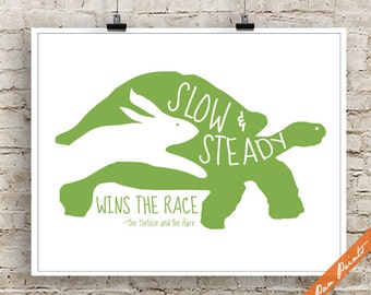 Slow and Steady wins the Race (B) - The Tortoise and the Hare Inspired Art Print (Unframed) (Green) Aesop's Fables Print