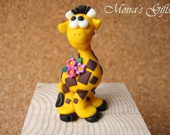 Custom giraffe cake topper for Birthday, Baby shower, Wedding, Valentine's Day, Christening - Original gifts - Giraffe keepsake - Gift idea