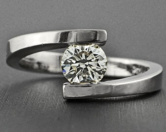 0.58ct Round Diamond 14K White Gold Solitaire Tension Engagement Ring - CUSTOM MADE