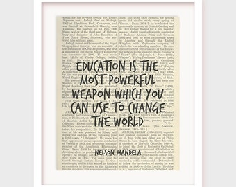 Educational Art, Nelson Mandela Quote Art, Education is The Most Powerful Weapon Which You Can Use to Change The World, Instant Download
